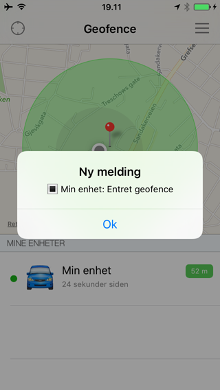 App entered geofence