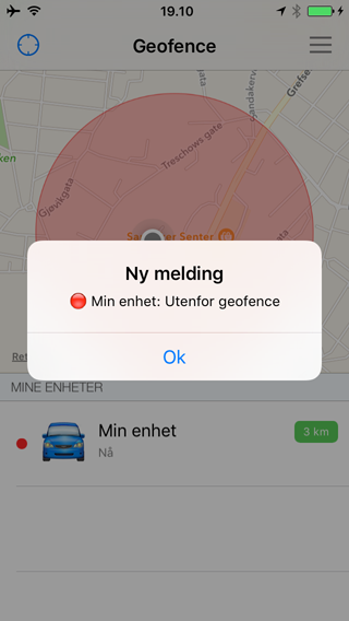 App outside geofence